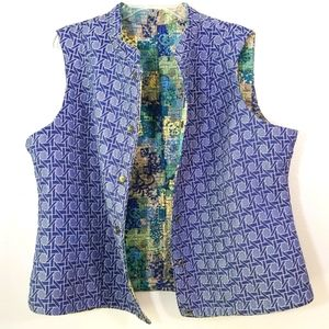 Custom made reversible quilted snap front vest XXL